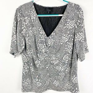 Dressbarn Collection Blouse 2X Silver Sparkly